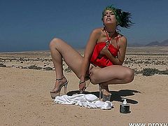 Desert, red dress and bottle in Ass - Proxy Paige.