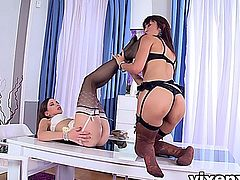 Sexy Asian Marica Hase and her hot brunette friend Candy Sweet rocking some lingerie and stockings showing off their legs and licking each other's pussies.
