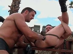 Gloved gay anal fisting video outdoors