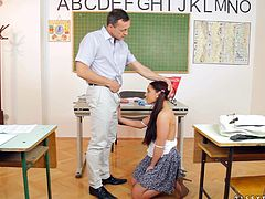 Make sure you have a look at this hardcore scene where the horny teen brunette Jenny B sucks on her teacher's big cock before she's fucked until her mouth's filled by semen.