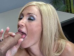 Share this with your friends! A blonde cougar, with giant fake jugs and long hair, uses her starving hole to give pure pleasure to a horny man.