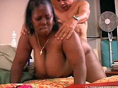 Subrina is a black mature milf whose fat pussy gets slammed missionary and from behind. She feeds on her lover's dick like it is sweet and delicious. He cums on her huge boobs.