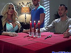 Real housewife gets pussy creamed on after fucking and sucking hard cock