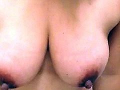 26yr old Holly showing off her swollen 36dd's for the first time