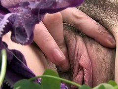 Sensuous Greenhorn ginger toys her sleaze fuzzy crotch nearly her finger onto A grass