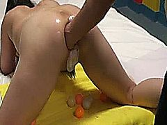 Extreme amateur wife has her gaping ass stretched by her husbands huge fist and multiple balls