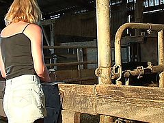 Farmers slut wife takes cock from the help!  Slut farmer's wife needs a cock. She cannot wait for her husband to come home. Before he does, she decides to fuck her stable boy and gardner. She can't help but take the help in her pink pussy. Showing them a good time, like a good farmers wife!