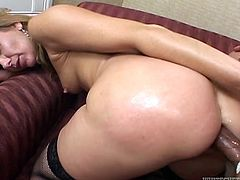 Blonde with natural tits in fishnets pose lovely on a cozy bed before getting her anal hole feasted mercilessly doggystyle