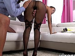 Foxy hot Asian vixen Sharon Lee rocking some nice black pantyhose gives this lucky dude a nice blowjob showing off that ass. She works her nylon feet on his cock with a nice footjob then gives up that sweet pussy for fucking, finished with a facial cumshot on her pantyhose covered face.