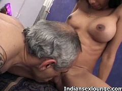 Grandpa licking wet Indian pussy. She is one horny and definitely filthy to entertain us. There is no way they would make you bore with their luscious ways on camera.