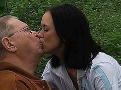 Horny sensual young girl is spoiling an old man giving him a master blowjob and sucking his old cock until he screams of pleasure.Her slender body looks amazing in 69 position and enjoys cunnilingus while he fingers her ass hole. He fucks her missionary and doggie and then cums in her mouth.