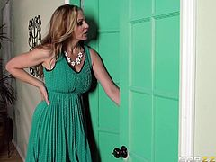 Julia is a playful milf with great sexual appetite. The evening started in a wonderful way, having fun with a young man's cock, until a knock at the door announced another visitor. Click to see her sucking two horny dicks and enjoying it! There are hardcore scenes of fucking from behind!
