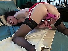 First time adult model with a tiny body and soft natural boobs indulges her mature pussy with the incredible pleasure that comes from using two toys at once