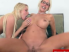Milf mama teaches teen how to fuck cock during a family threeway