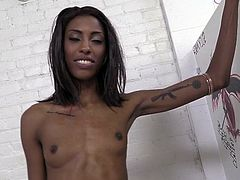 Ebony Brunette in panties with Small Tits and Tattoo gets nasty in an Interracial Hardcore action playing passionately with her guy