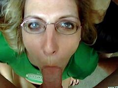 Glamorous blonde cowgirl in glasses lick balls then gives a terrific blowjob in a POV shoot till he cums in her mouth before swallowing the cumshot