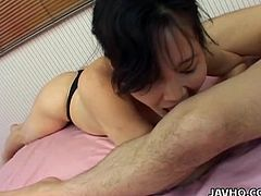 She hot all the time, always looking for some action, something new and she has a surprise for him. Today his ass will receive a rimjob. Crazy slut is licking his ass, his feets then she is going to his balls. She dont mind that he has a small dick because she have many ways to get some pleasure from him. I bet the bitch love to swallow!