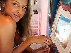 Melana plays around outside, doing laundry and teasing, then gets busy in a little cabana with a toy until she has an incredible orgasm! More playing around in the kitchen after until she leaves the house in sexy short shorts. What a cute happy girl to spend a sexy afternoon with!