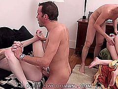 MANDY SLIM & TIFFANY DOLL have fun with two guys. This video is in HD.