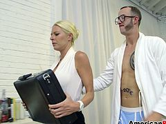 This hot blonde gives a huge cock a hardcore blowjob while her shaved pussy gets a doggystyle fuck with a cumshot.