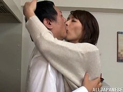 Amazing Asian milf with short hair in bra finishes taking her meal and enjoy her pussy being pounded hardcore doggystyle in the kitchen