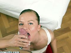 Cute Bella Baby is enjoying sucking my cock! I filmed the hole thing! WOW!