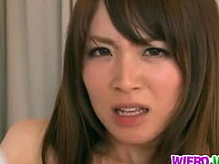 Miku Ohashi is the office girl known for her super pretty face and a hot curvy body and she got exploited by her blindfolded boss toying her hairy pussy and fucking her in dogstyle position.