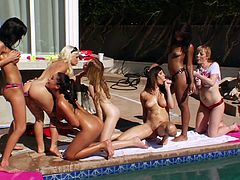 This hardcore lesbian outdoor fuck party features Adrianna Nicole, London Keyes, Sammie Spades, Holly Michaels, Gia Dimarco, Emma Haize and Leilani Leeane.