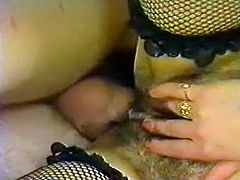 Hot tempered dude fucks hairy pussy of lesbians licking muff