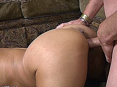 Horny brunette older cougar sucks and fucks