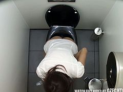 Spy video from public ladies' room featuring Czech bare assed girls