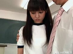 Horny Japanese Cowgirl with Natural Tits and Shorts gets her Cunt Pounded Hardcore After an Awesome Fingering and Licking in Class