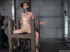 This slave is in such pain. She has hooks in her nose that pull on her nostrils. The masters puts hooks in her mouth so she has to submissively show her teeth. She has a thick metal collar around her neck and she is pounded with an electric fuck machine as she is confined in a torture chair. She has red scars from the beatings.