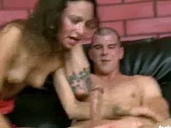 Naughty brunette Amber Rayne gets dped very hard