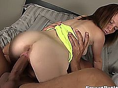 Petite amateur babe riding dude hard with enthusiasm