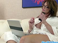 Watch this hot and sexy big titted milf in this hardcore video.See how this horny milf gets sucks on that big hard cock before she gets her lusty pussy fucked till she squirts.
