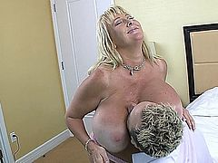 Huge-titted busty older cougar gets banged hard