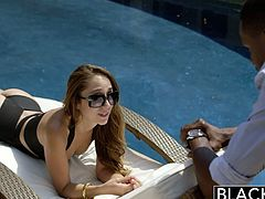 Stunning babe Remy Lacroix just checked in on a beautiful resort and it is her own vacation and enjoys having the time for herself with her boyfriend away. She found a black guy wandering around and take the opportunity to seduce him for a different partner experience.