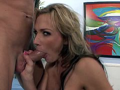 She loves to get fucked by huge cock doggystyle hardcore. She takes to suck it first for a hot deepthroat blowjob.