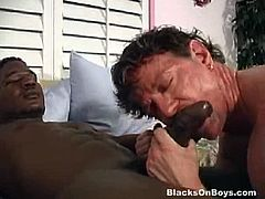 Blacks On Boys brings you a hell of a free porn video where you can see how this naughty white hunk rides a hard rod of black meat into a massively intense anal orgasm.