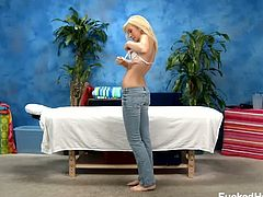 Sexy 18 year old blonde Kaylee Hays certainly wants more for her ordinary massage so she asks for a male therapist to do it for her, wanting him to caress and massage her wet cunt.