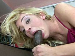 Kinky blonde cowgirl with long hair giving a sensual POV blowjob before getting screwed hardcore in a steamy interracial action