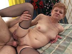 Mature Granny in stockings with natural tits gives a hot blowjob and gets pounded doggy-style with cum-shot of cum in her hairy cunt