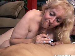 This big mature babe, Anne. waits for her husband to arrive from work while masturbating. When he gets home, she gives him a massage and a blowjob to arouse him.