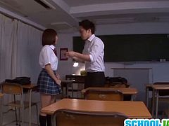 Ayumi Kimino is tricked by one of her school colleagues to go with him. Another dude shows up and they both force themselves on her and bang her pretty hard.