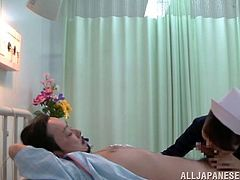 japanese nurse in uniform fucked hard by her patient