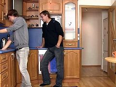 He seduces and invades Erotic plumber from backside