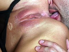 Captivating blonde with big tits getting her anal licked then gives her guy blowjob before enjoying being smashed hardcore doggystyle