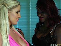 This blonde slut is sucking her man's cock, but she would rather be having sex with her ebony friend. She meets her at night while her husband is in bed, and the ebony lady sucks on the white chick's nipples before eating out her pussy.