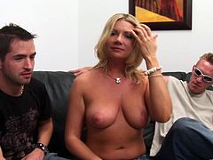Pleasing cougar with big tits giving huge dicks blowjob before getting her shaved pussy being feasted hardcore doggystyle in a close up shoot